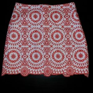 LOFT | A-Line White Red Embroidered Mini Skirt